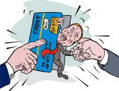 Credit card crunch man Stock Illustration