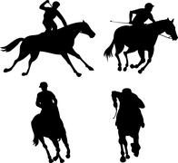Stock Illustration of equestrian show silhouette.