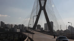 Ponte Estaiada bridge built over the Pinheiros River in the city of Sao Paulo Stock Footage
