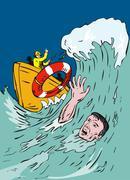 Miehen hukkumiselta Piirros