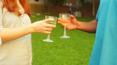 outdoor party glasses wine - stock footage