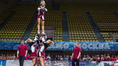 Performance of cheerleaders team Assol at Championship Stock Footage