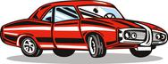Stock Illustration of classic red car.