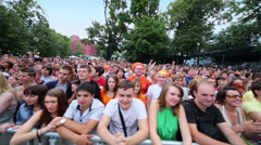 Crowd of music fans listen concert of Chaif rock-band - stock footage