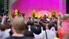 Crowd watch V.Shahrin performs on stage at concert of Chaif band Stock Footage