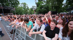 Music fans applaud at concert of Chaif rock-band Stock Footage