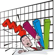 graph crashing down - stock illustration