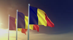 romanian flags in the wind - stock footage