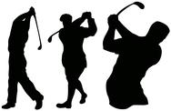 Stock Illustration of golfer swinging.