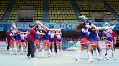 Participants of cheerleaders team Leader perform Stock Footage