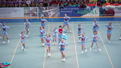 Performance of cheerleaders team Sharks at Championship Stock Footage