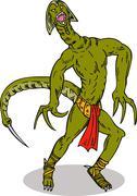 monster alien tailfront - stock illustration