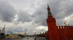 Cloudy Moscow kremlin embankment time lapse Stock Footage