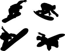 snowboarding silhouette - stock illustration