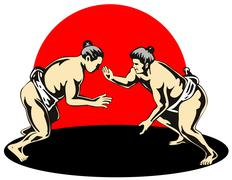 japanese sumo wrestlers fighting - stock illustration