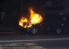Stock Photo of .car caught on fire after collision.held oion la cienega blvd.los angeles.cal