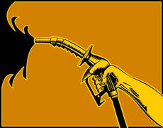 Hand holding gas fuel pump nozzle . Stock Illustration