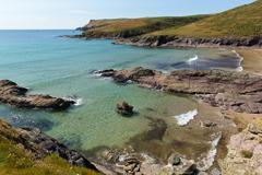 New Polzeath Cornwall coast England - stock photo