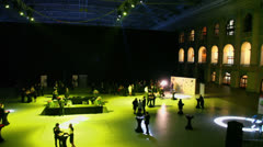 People communicate at hall on award ceremony, (panoramic motion) Stock Footage