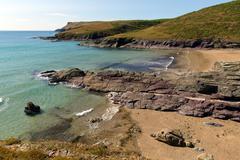 New Polzeath beach Cornwall coast England United Kingdom. - stock photo