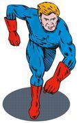 Super hero running retro. Stock Illustration