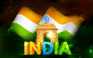 India Gate with Tricolor Flag Stock Illustration