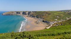 Trebarwith Strand Cornwall England UK - stock photo