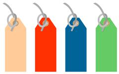 Colored tags strings Stock Illustration
