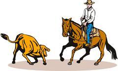 Rodeo cowboy ratsastusta. Piirros