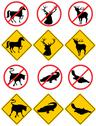 Stock Illustration of wildlife symbols signs.