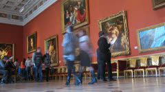 Visitors passing through italian exhibition hall Stock Footage