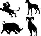 Stock Illustration of wildlife silhouettes.