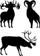Stock Illustration of elk silhouettes.