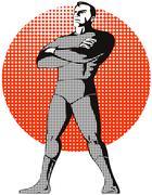 Super hero standing retro. Stock Illustration