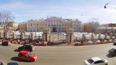 People passing by the front gate of Vorontsovsky Palace Stock Footage