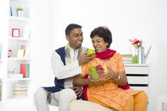 healthy punjabi family mother and son with lifestyle setting - stock photo