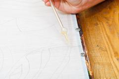 contour drawing on canvas - stock photo