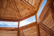 Stock Photo of Wooden housing construction - top part