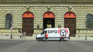 Stock Video Footage of DPD courier service at Residenz Museum Munich Bavaria Germany