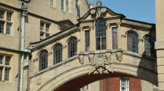 bridge of sighs, oxford, england on a sunny day - stock footage