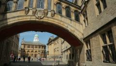 Sheldonian theatre and bodleian library, bridge of sighs, o Stock Footage