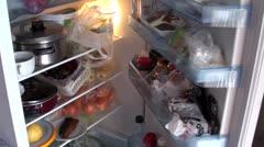 Fridge full of food closing Stock Footage