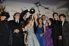 Jennifer stone, selena gomez, david henrie, maria canals-barrera and jake t.  Stock Photos
