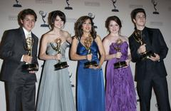 jennifer stone, selena gomez, david henrie, maria canals-barrera and jake t.  - stock photo