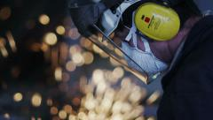 Close-Up of Grinding Heavy Industry Worker 4K Stock Footage