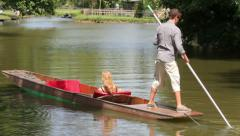 Oxford, people punting on the river, england Stock Footage