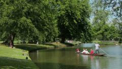 people punting on the river in oxford, england - stock footage