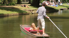 Oxford, people punting on the river, england - stock footage