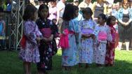 Japanese German kids in Japanese Kimono Stock Footage