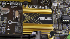SM Tracking shot Asus computer PC mother board Stock Footage